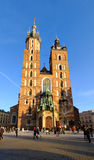Mariacki cathedral at main square in old city of Krakow Royalty Free Stock Photo