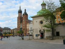 Mariacki Church. St Mary's church towers,Krakow,Poland Royalty Free Stock Photography