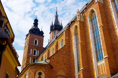 Mariacki church. Old building in the Krakow Royalty Free Stock Photos
