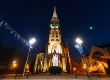 Mariacki church with angel in Katowice. Mariacki church with angel in christmas night. Katowice, Poland. Europe Stock Images