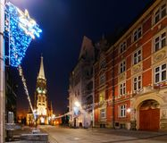 Mariacki church in christmas night. Katowice, Poland. Europe. Mariacki church with angel in christmas night. Katowice, Poland. Europe Stock Images