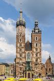 Mariacki church, Church of Our Lady in Krakow. KRAKOW, POLAND - MAY 26, 2014: Mariacki church, Church of Our Lady Assumed into Heaven, a brick gothic church Stock Photos