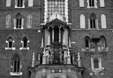 Mariacki Church in Cracow facade. Black and white image of the facade of Mary`s Church Mariacki in Cracow Krakow, Poland Stock Image