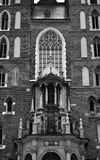 Mariacki Church in Cracow facade. Black and white image of the facade of Mary`s Church Mariacki in Cracow Krakow, Poland Royalty Free Stock Images