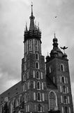 Mariacki Church in Cracow facade. Black and white image of the facade of Mary`s Church Mariacki in Cracow Krakow, Poland Royalty Free Stock Photos