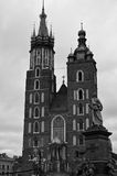 Mariacki Church in Cracow facade. Black and white image of the facade of Mary`s Church Mariacki in Cracow Krakow, Poland Stock Photos