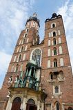 Mariacki Church - famous gothic church Krakow at main market squ Royalty Free Stock Image