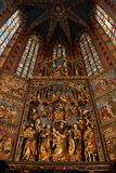 Mariacki church in krakow. With magnificent stained glass and altar Stock Photo