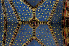 Mariacki church in Krakow. Ceiling in the Mariacki church in Krakow with magnificent decorations - Stained Glass. Poland Stock Images