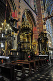 Mariacki church in Krakow. With magnificent decorations - Poland Royalty Free Stock Photography