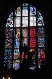 Mariacki church in Krakow. With magnificent decorations - Stained Glass. Poland Stock Photography