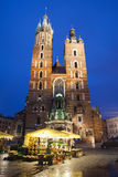Mariacki Church by Night in Krakow. Poland, Krakow, Old Town, Main Market Square, St Mary Basilica (Mariacki Church) by night Stock Photo