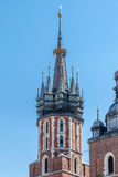 Mariacki church. Tower on a blue sky Royalty Free Stock Images
