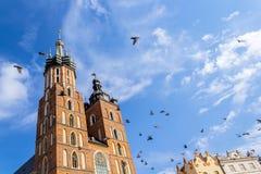 Mariacki kyrka, Krakow, Polen, Europa fotografering för bildbyråer