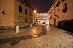 Mariacki-Quadrat nachts in der alten Stadt von Krakau Stockfoto