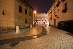 Mariacki Square at Night in the Old Town of Krakow Stock Photo