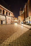 Mariacki Square at Night in the Old Town of Krakow Royalty Free Stock Photos