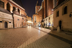 Mariacki Square at Night in the Old Town of Krakow Royalty Free Stock Photo