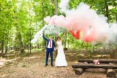 Mariage, amour, relations, mariage Nouveaux mariés de sourire et fumée colorée Images stock