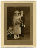 Mariage antique de photo de l'original 1925 photo libre de droits