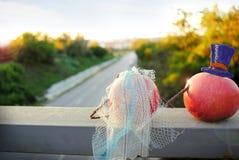 Mariage avec des pommes, jeune mariée et images stock