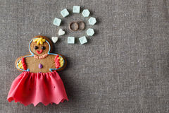 Mariage concept. Gingerbread girl with wedding dream Stock Photo