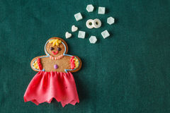 Mariage concept. Gingerbread girl with wedding dream Stock Photography