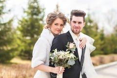Mariage d'automne de marié et de jeune mariée Photos libres de droits