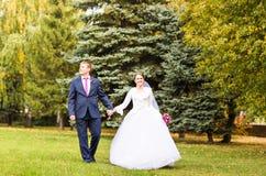 Mariage d'automne en parc, jeunes mariés photographie stock