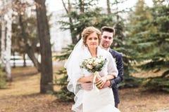 Mariage d'automne en parc, jeunes mariés image stock