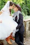 Mariage de cowboy Photos libres de droits