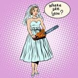 Mariage de sang d'humeur noire de jeune mariée de Halloween illustration de vecteur
