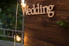 Mariage en bois de plaque Image stock