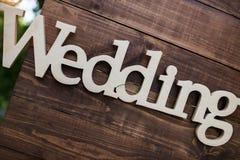 Mariage en bois de plaque Photographie stock libre de droits