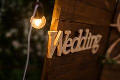 Mariage en bois de plaque Photos stock