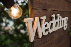 Mariage en bois de plaque Images stock