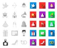 Mariage et attributs mono, icônes plates dans la collection réglée pour la conception Web d'actions de symbole de vecteur de nouv illustration libre de droits