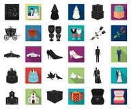 Mariage et attributs noirs, icônes plates dans la collection réglée pour la conception Web d'actions de symbole de vecteur de nou illustration de vecteur