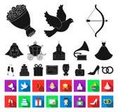 Mariage et attributs noirs, icônes plates dans la collection réglée pour la conception Web d'actions de symbole de vecteur de nou illustration stock
