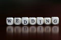Mariage heureux de cube en textes Photo libre de droits