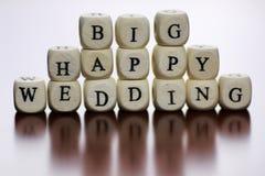 Mariage heureux de cube en textes Photo stock