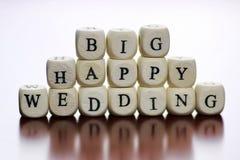 Mariage heureux de cube en textes Image libre de droits