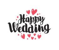 Mariage heureux, lettrage Le mariage, marient le concept Inscription manuscrite, vecteur de calligraphie Photographie stock