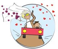 Mariage heureux sur la voiture enclenchement illustration libre de droits