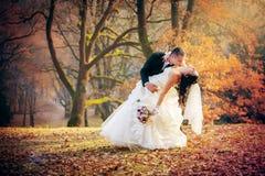 Mariage tiré des jeunes mariés en stationnement Photo stock