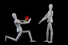 Mariage, proposition de fiançailles ou concept de valentines L'agenouillement courtisent Image libre de droits