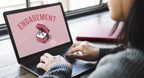 Mariage Ring Box Proposal Graphic Concept Images libres de droits