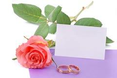mariage rose de boucles de carte Photo libre de droits