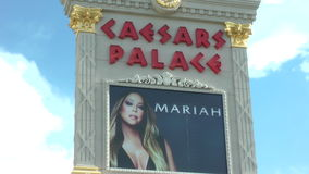 The Mariah Carey Concert poster at Ceasars palace hotel on May 15 , 2015 in Las Vegas stock video footage