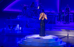 Mariah Carey Launches 'MARIAH 1 TILL OÄNDLIGHETEN' på Caesars Palace I royaltyfria foton